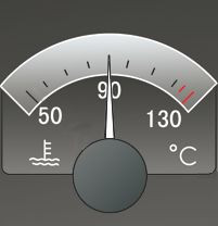 This meter shows the current temperature of the coolant is 90 degrees.