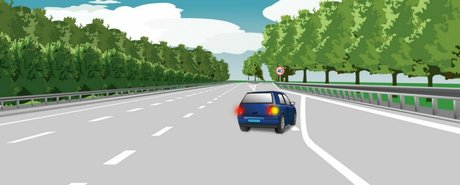 The method of the driver of the car leaving the carriageway of the expressway is correct.
