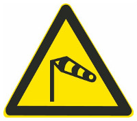 This sign warns vehicle drivers there is a strong side wind ahead.