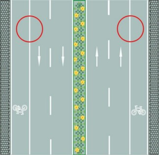 What do the white solid lines on both sides of the border of the carriageway mean?