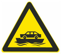 This sign warns drivers that ahead there is a vehicle ferry.