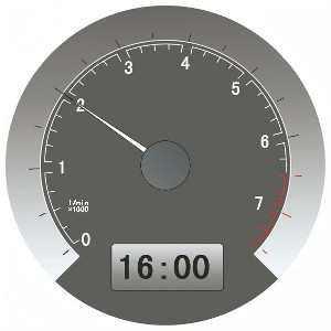 This meter shows the current speed is 20 km/hour.