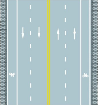 What does the solid double yellow line in the center of the road mean?
