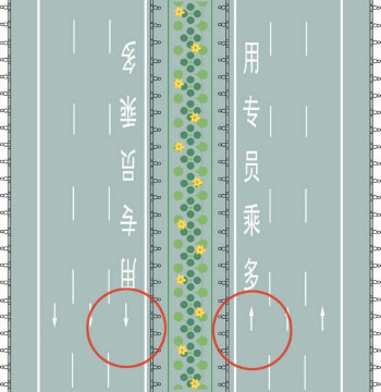 What is the meaning of the area on the far left lane of the broken white lines ?