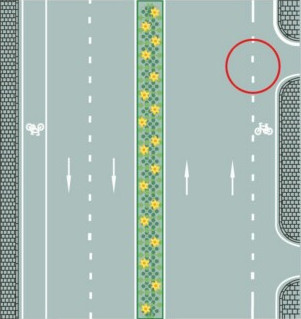 What do the white broken lines on the right border of the road mean?